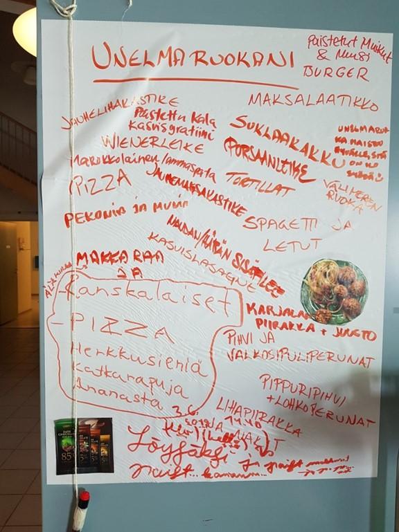 Asukkaiden unelmaruokia koottuna yhdelle paperille. Sieltä löytyy muun muassa kasvislasagne, pitsa, letut ja välimeren ruoka.
