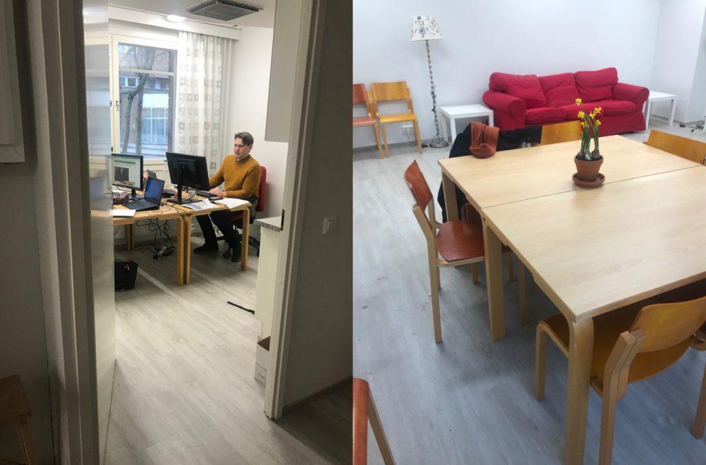 Uusi toimisto kahtena kuvana. Ensimmäisessä hankepäällikkö Tapio työpöytänsä ääressä ja toisessa pöytäryhmä.