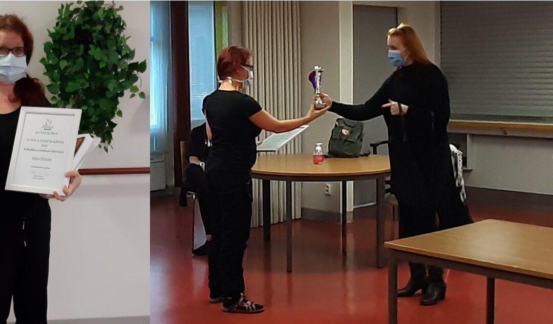 Innovaatiokilpailun voitto Suutarinkodin ohjaaja Sannalle
